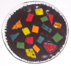 FUSED MULTI-COLORED GLASS DESIGNED DISPLAY COLLECTIBLE PLATE - $150.00