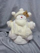 SOFT SCULPTURE WHITE SNOWMAN WITH JACKET & HAT,GOLD TRIM , SNOWFLAKES - ... - $19.99