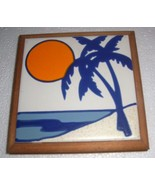 HANDCRAFTED ART TILE CERAMIC ON THE BEACH WITH THE SUN - $27.12