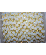 Natural Opalite Hydro 3-4 MM Rosary Beaded Gold Plated Chain For Jewelry - $15.32+