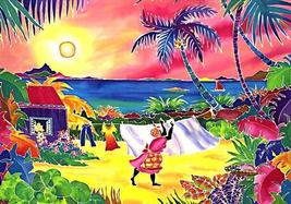 "Hand Signed  Rita Van Gorder - ""Wash Day"" Caribbean Art Giclee Framed Print - $191.03"