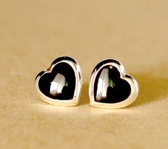0504,Stud earrings,Onyx stud,heart earrings,black stud,black earrings - $19.80
