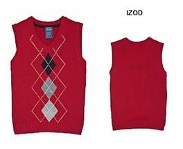 Boys IZOD Red Argyle Sweater Vest Holiday Shirt Top 100% Cotton S/4  L/7... - $12.95