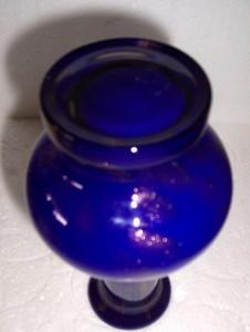 Handblown Cobalt Blue Glass Vase With Gold Dust Sparkle