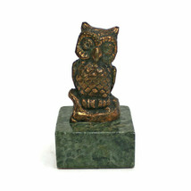 Vintage Copper OWL Paperweight | Green Marble Base Plinth | HEAVY For It... - $24.70