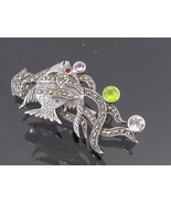 Vintage Sterling Silver Mixed Gemstone & Marcasite Fish Pin Brooch  - $55.00