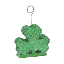 Beistle Glittered Shamrock Photo/Balloon Holder 6 Oz- Pack of 6 - £24.91 GBP