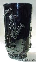 Fenton Ebony Jet Black Glass  Mandarin Vase,  3-D  Oriental Image,  Verlys Mold - $73.59