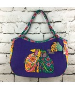 Laurel Burch Kindred Spirits Cat & Dog Womens Purse Purple Floral Should... - $24.74
