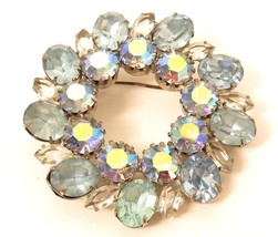 Vintage Highend Blue Aurora Borealis Clear Rhinestone Wreath Brooch Pin*... - $27.67