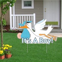 """""""It's a Boy"""" Die Cut Stork, Baby Announcement Yard Sign Light Skin Toned... - $35.41"""