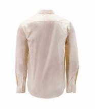 Men's Cream Color Button Up Long Sleeve Solid Slim Fit Dress Shirt image 2