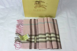 BURBERRY Scarf Cashmere Light Pink Big Pattern 35cm - 170cm - $99.00