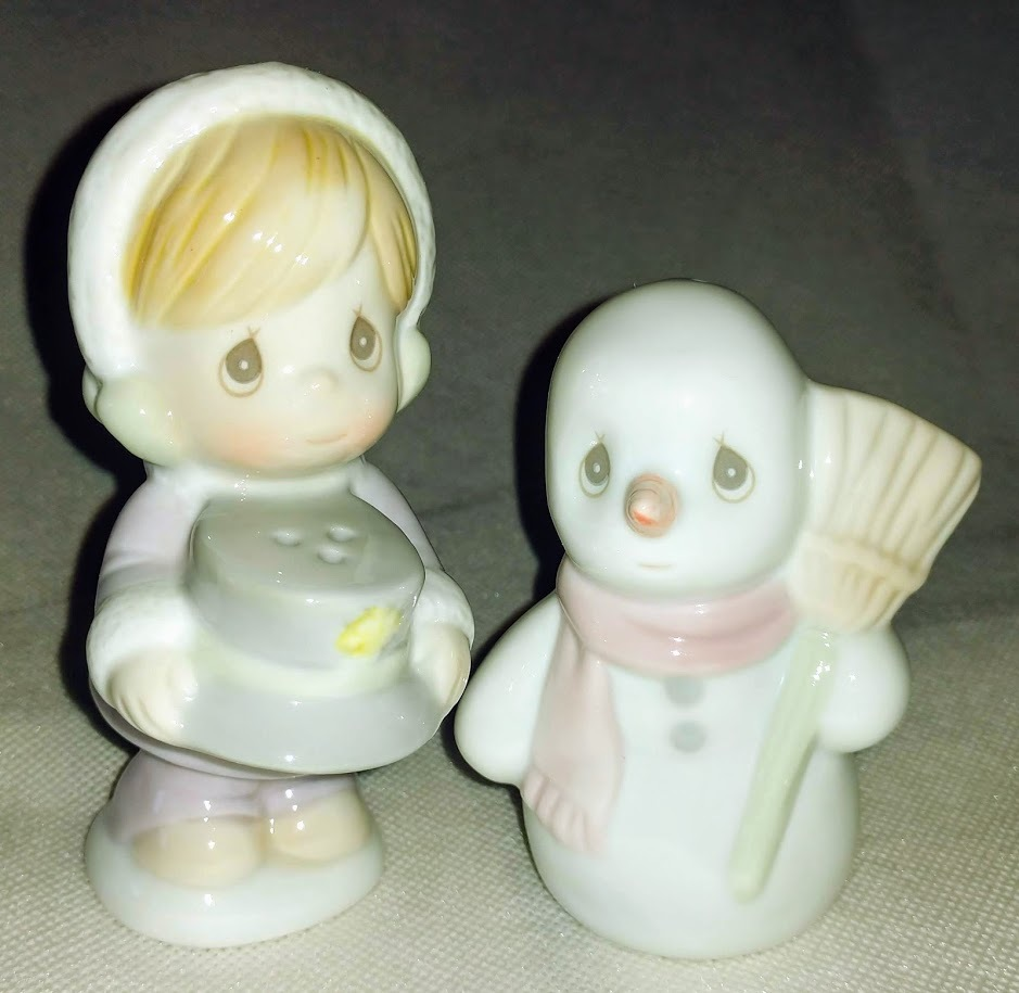 Primary image for Christmas Table Decor Precious Moments Snowman & Girl Salt & Pepper Shaker Set