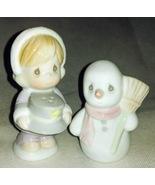 Christmas Table Decor Precious Moments Snowman & Girl Salt & Pepper Shak... - $14.99