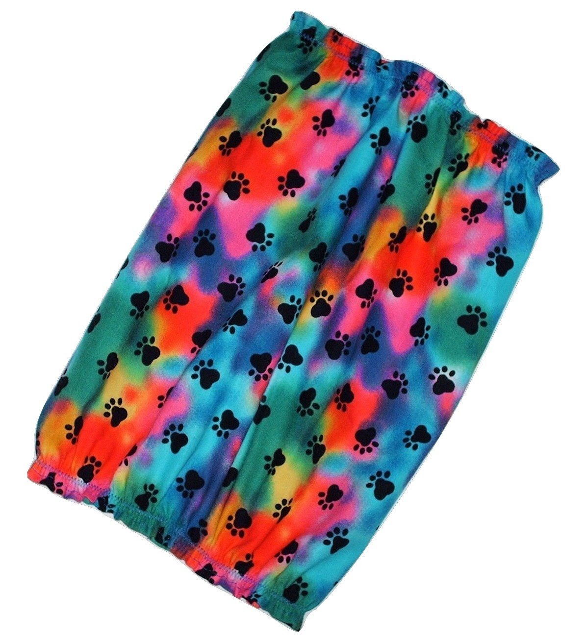 Dog Snood Rainbow Tie Dye Black Paw Prints Cotton by Howlin Hounds Size Large image 2