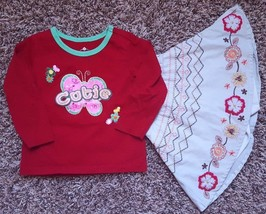 Girl's Size 12 M 9-12 Months 2 Pc Red PLACE Butterfly Cutie Top & Floral Skirt - $17.00