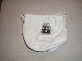 FRYE Drawstring Dust Bag  Ivory Flannel with Black Logo 8x8 round bottom - $7.91