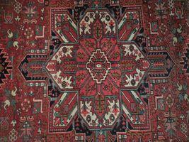 Normal Wear Semi-Antique Persian Handmade 9x12 Burgundy Heriz Wool Rug image 6