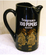 Seagrams 100 Pipers Scotch Pint Whisky Pitcher Bar Ware ✿ Bagpipe Player... - $19.75