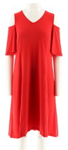 H Halston Jet Set Jersey Cold Shoulder Hi-Low Hem Dress Crimson XL NEW A... - $30.67