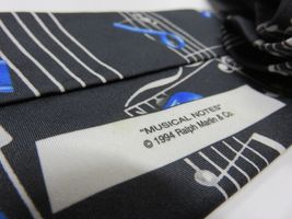 "1994 Ralph Marlin ""Musical Notes"" Blue & Black Graphic Neck Tie image 6"