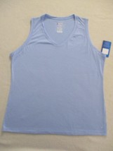 Champion Women Top XL Blue Solid V Neck Sleeveless Cotton Polyester 1820 - $5.94