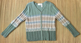 Liz Claiborne Lizsport Womens Cardigan Sweater • Full Zip Chunky Rib • S... - $19.75
