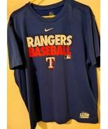 Men's NIKE Texas Rangers MLB Blue Short Sleeve Dri-Fit Baseball T-Shirt ... - $12.20