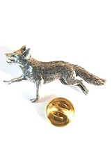 running fox made from english Pewter Lapel Pin Badge, gift boxed