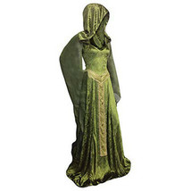 Womens Renaissance Gown Costume 2XL Plus Size Medieval Dress Green Hooded - $87.00