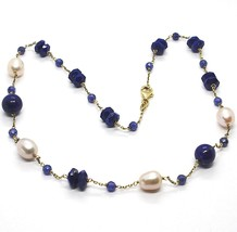 SILVER 925 NECKLACE, YELLOW, LAPIS LAZULI BLUE DISCO AND SPHERES, PEARLS, 45 CM image 1
