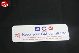 69 70 Oldsmobile 6 Cylinder Engine Keep Your GM All GM Air Cleaner Decal - $999.99