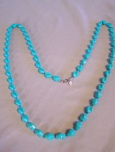 """Aqua (BlueGreen)  Sarah Coventry Beaded Necklace approx 37.5"""" long clip to clasp - $3.38"""