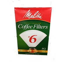 MELITTA SUPER PREMIUM COFFEE FILTERS # 6 OR # 1 - 40 CONE FILTERS BREWS ... - $6.17