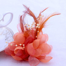 12cm Orange FEATHER Hairpin Cosmos Flower Wedding Party - $13.95