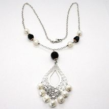 Necklace Silver 925, Onyx Black, White Pearls, Pendant Floral image 3