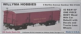 Willyma Hobbies HO  B&M Rebuilt 50' Wood Milk Car ONE PIECE BODY Kit 02 image 2