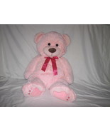 """2015 ANIMAL ADVENTURES HUGE PINK BEAR WITH PINK BOW STUFFED PLUSH TOY 29"""" - $23.76"""