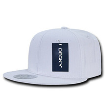 Cotton Snapback Cap - Flat Bill, White (Decky 361-WHT, New with Tags) - £5.40 GBP