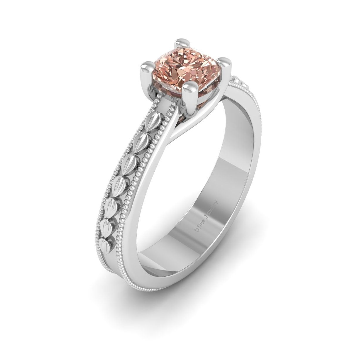 Milgrain Design Ring Solid 925 Sterling Silver Engagement Ring Anniversary Gift - $144.99
