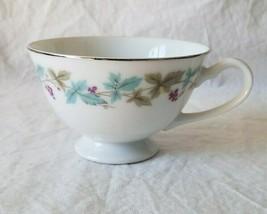 Vintage Fine China Tea Cup Blue & Green Leaves Purple Grapes Japan - $3.95