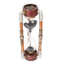 Past Present and Future Cool Steampunk Gearwork Sandtimer Black Sand Sculpture - $22.13