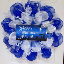 Happy Birthday Jesus Deco Mesh Inspirational Christmas Wreath - $92.99