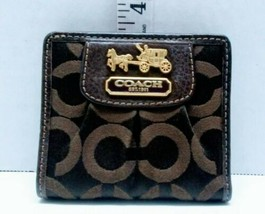 Coach Women's Small Wallet Brown on Brown Nylon Outside Leather inside.   - $25.00