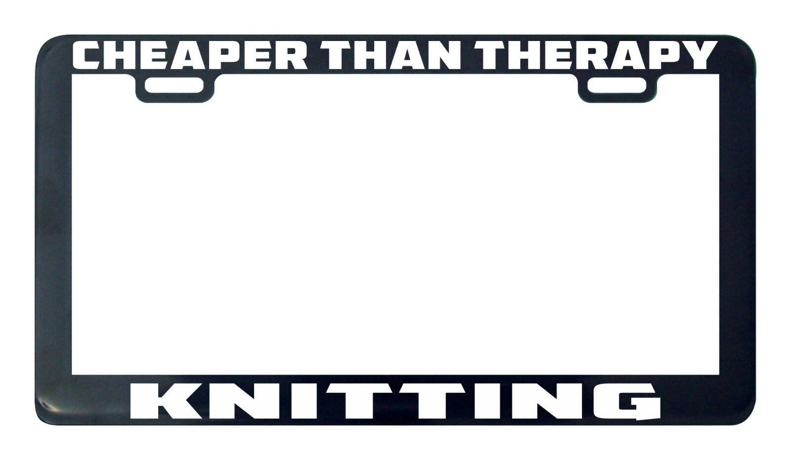 Primary image for Cheaper than therapy knitting license plate frame holder