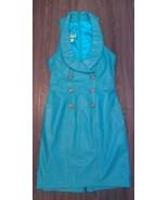 Vtg 80's Rafaell Nautical Military Teal Leather Bandage Bodycon Dress 5/6 - $189.99