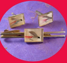Vintage Preserved Flies Fly Fishing Lure Cuffink Set with Long Tie Clip Hand tie - $110.00