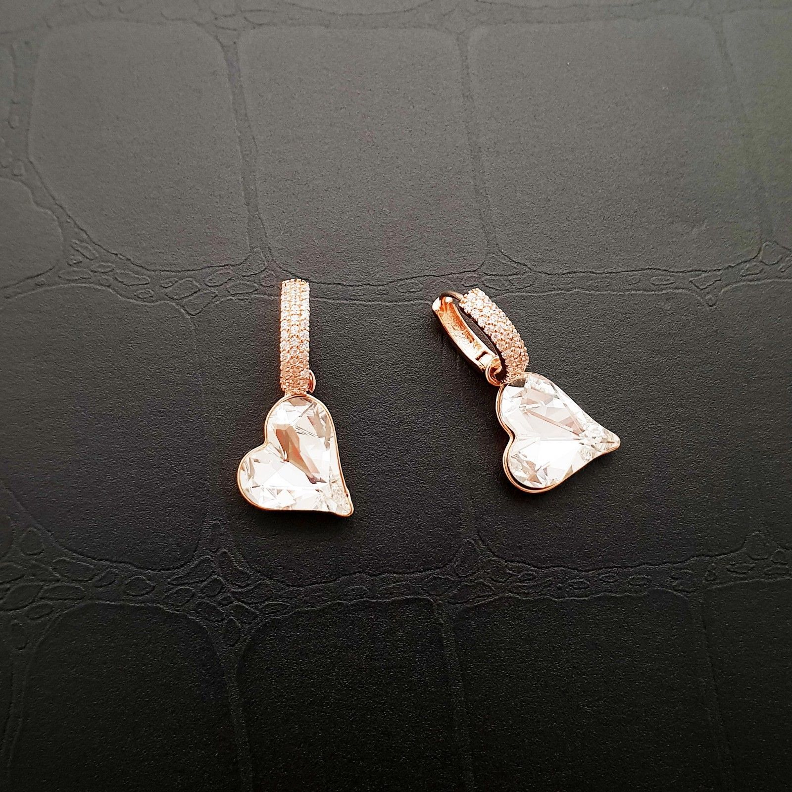 Heart Made With Swarovski Crystal Laverback Dangle Earrings Cubic Zirconia E215 image 6