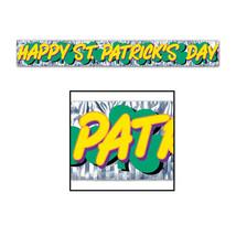 "Beistle Met Happy St Patrick's Day Fringe Banner 8"" x 5'- Pack of 12 - $40.50"